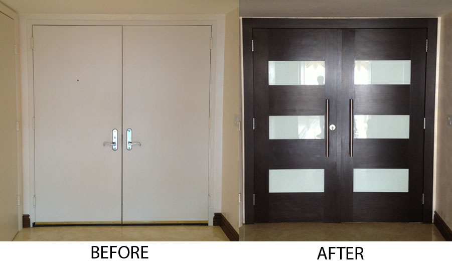 entry door refacing before and after - Modern Exterior Double Doors